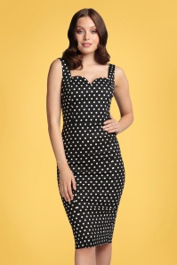 Collectif 32174 Anita Polka Dot Pencil Dress Black 20191030 020L W
