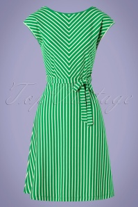 King louie 31705 Grace Breton Stripe Dress Very Green20191209 002W