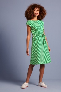 King louie 31705 Grace Breton Stripe Dress Very Green 20200114 020L