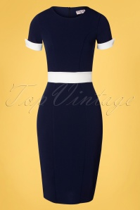 Vintage Chic for TopVintage Verena Pencil Dress Années 50 en Bleu Marine et Blanc