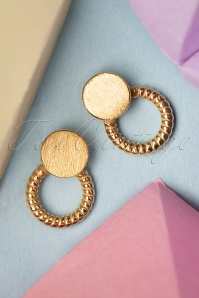 50s Rope Ring Studs in Gold Plated