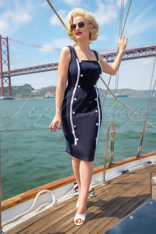 Sailor Dresses, Nautical Theme Dress, WW2 Dresses 50s Marine Pencil Dress in Navy £98.47 AT vintagedancer.com