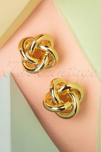 50s Twisted Stud Earrings in Gold