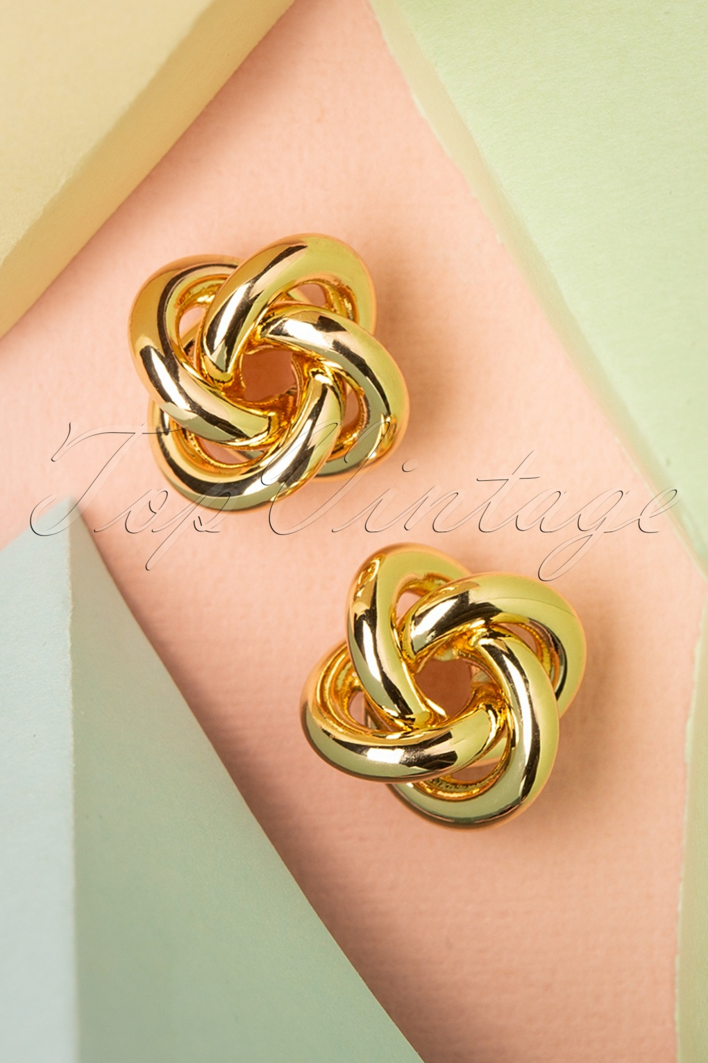 Vintage Style Jewelry, Retro Jewelry 50s Twisted Stud Earrings in Gold £7.32 AT vintagedancer.com