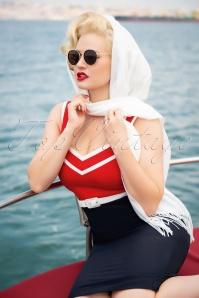 Glamour Bunny 32867 Barbara Pencil Dress Red Navy 20190719 044W