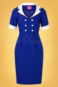 Glamour Bunny 32863 Janice Pencil Dress Blue 20191204 003W