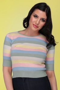 Collectif 32130 Chrissie Teacup Stripe Knitted Top Multi 20191030 020L W