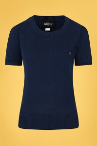 Collectif 32133 Davina Plain Knitted Top in Navy 20200128 020L W