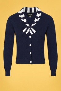 Collectif 32138 Doreen Cardigan in Navy and White 20200128 020L W