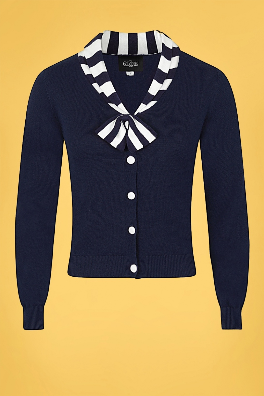 Vintage Sweaters, Retro Sweaters & Cardigan Ladies 50s Doreen Cardigan in Navy and White £28.47 AT vintagedancer.com