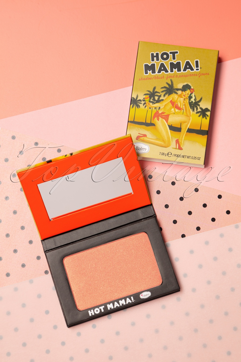 Authentic 1950s Makeup History and Tutorial Hot Mama Shadow Blush in Peachy Pink £19.29 AT vintagedancer.com