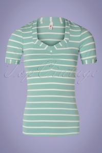 Blutsgeschwister 50s Logo Stripes T-Shirt in Minty Blue