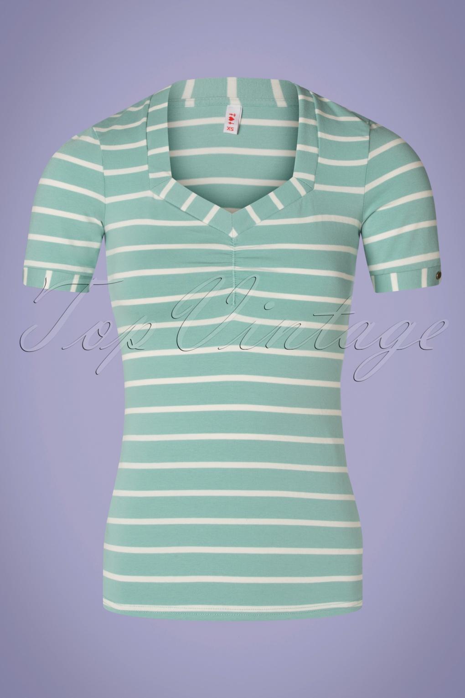Logo Stripes T-Shirt Années 50 en Bleu Menthe