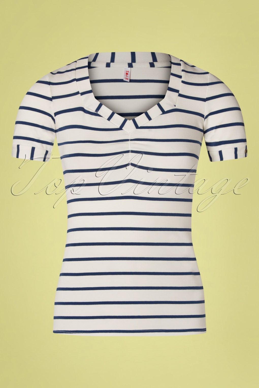 Vintage Tops & Retro Shirts, Halter Tops, Blouses 50s Logo Stripes T-Shirt in Ivory White and Navy £35.52 AT vintagedancer.com