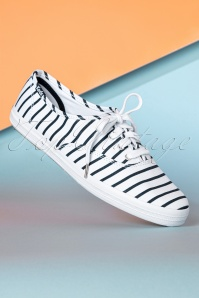 Keds 50s Champion Breton Stripes Sneakers in White and Navy