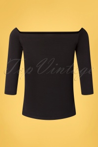 50s Gloria Bardot Top in Black