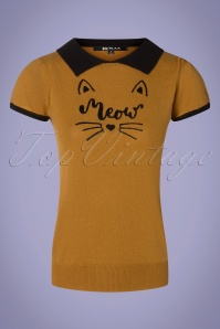 60s Cat Shirt in Camel and Black