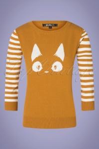 60s Debbie Cat Striped Sweater in Bronze Yellow