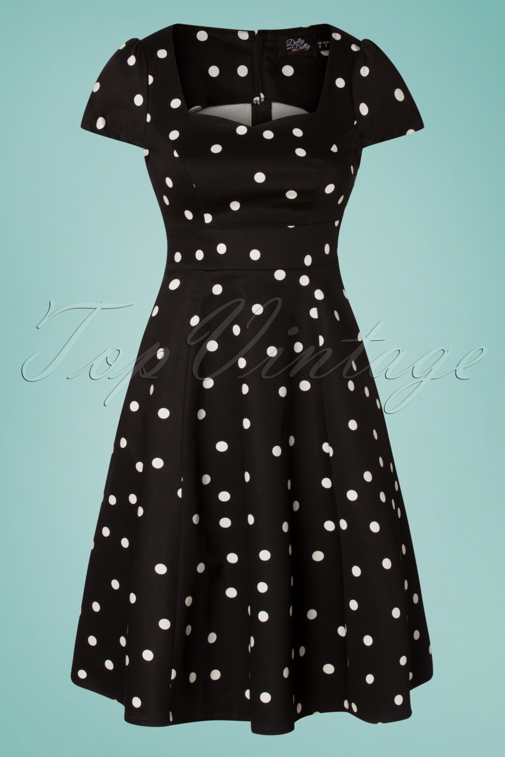 500 Vintage Style Dresses for Sale | Vintage Inspired Dresses 50s Claudia Polkadot Swing Dress in Black £43.83 AT vintagedancer.com