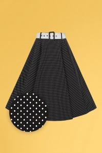 Collectif 32149 Clair Mini Polka Dot Swing Skirt Black White 20191030 021LZ