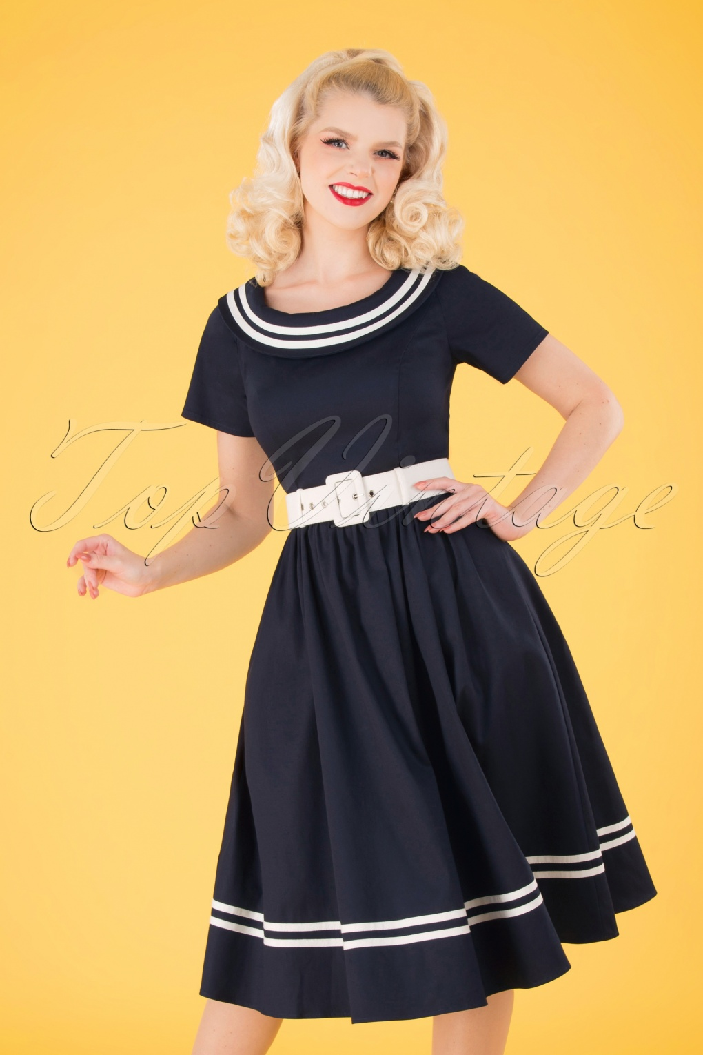 500 Vintage Style Dresses for Sale | Vintage Inspired Dresses 50s Tina Nautical Swing Dress in Navy and White £76.29 AT vintagedancer.com
