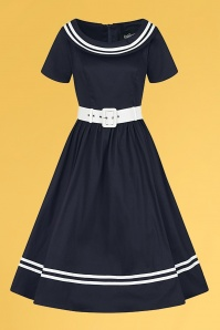 Collectif 32186 Tina Nautical Swing Dress Navy White 20200120 020LW