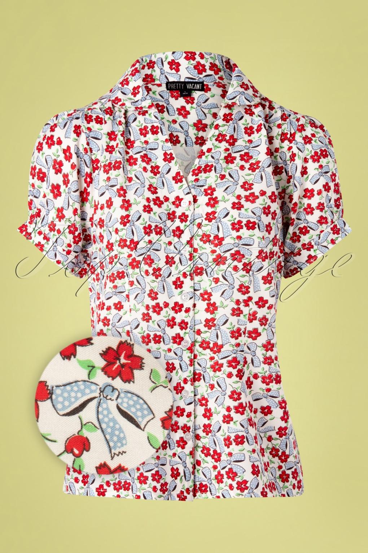 Vintage Tops & Retro Shirts, Halter Tops, Blouses Gaby Floral Bows Blouse in Cream £42.95 AT vintagedancer.com