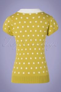 Mak Sweater 33453 Sweater Mustard Kristen 60s Dots 012820 009W