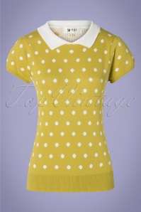 Mak Sweater 60s Kristen Polkadot Sweater in Moss Yellow and White