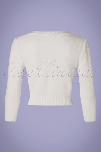 Mak Sweater 33622 Cardigan Ivory 50s White 012820 008W