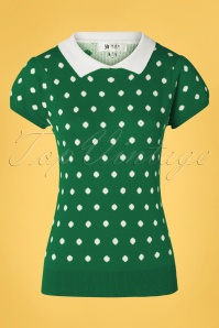 Mak Sweater 60s Kristen Polkadot Sweater in Green and White