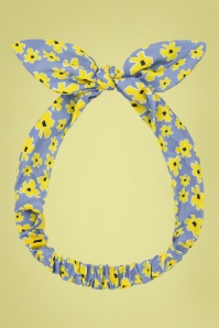 Collectif 31856 Summer Flower Hair Scarf Blue Yellow 190715 001