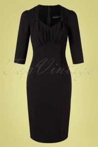 Camilla Pencil Dress Années 50 en Noir