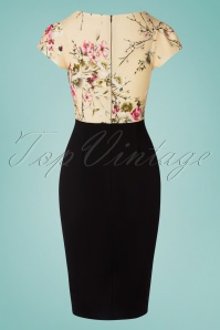Vintage Chic 33383 Pencildress Black Cream Floral 01282020 008W
