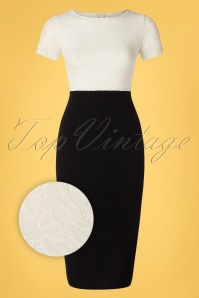 Vintage Chic 33390 Pencildress Ivory Black White 012820 002Z