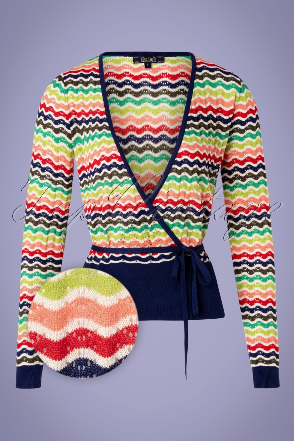 Vintage Sweaters, Retro Sweaters & Cardigan Ladies 60s Sassy Wrap Top in Blue and Multi £79.57 AT vintagedancer.com