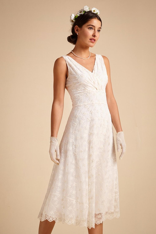 60s Wedding Dresses | 70s Wedding Dresses 60s Ginger Venise Wedding Dress in Cream £236.85 AT vintagedancer.com