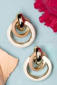 60s Circle Earrings in Sand and Gold