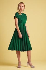 KingLouie 31784 Betty Weekender Plisse Dress in Peacock Green 20200130 020L