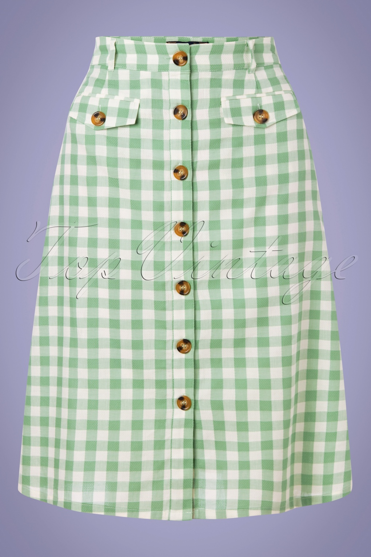 60s Skirts | 70s Hippie Skirts, Jumper Dresses 60s Caroll Legend Skirt in Island Green £61.88 AT vintagedancer.com