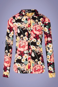 King Louie 31682 Blouse Rosie Carioca Black Floral 20191209 003W