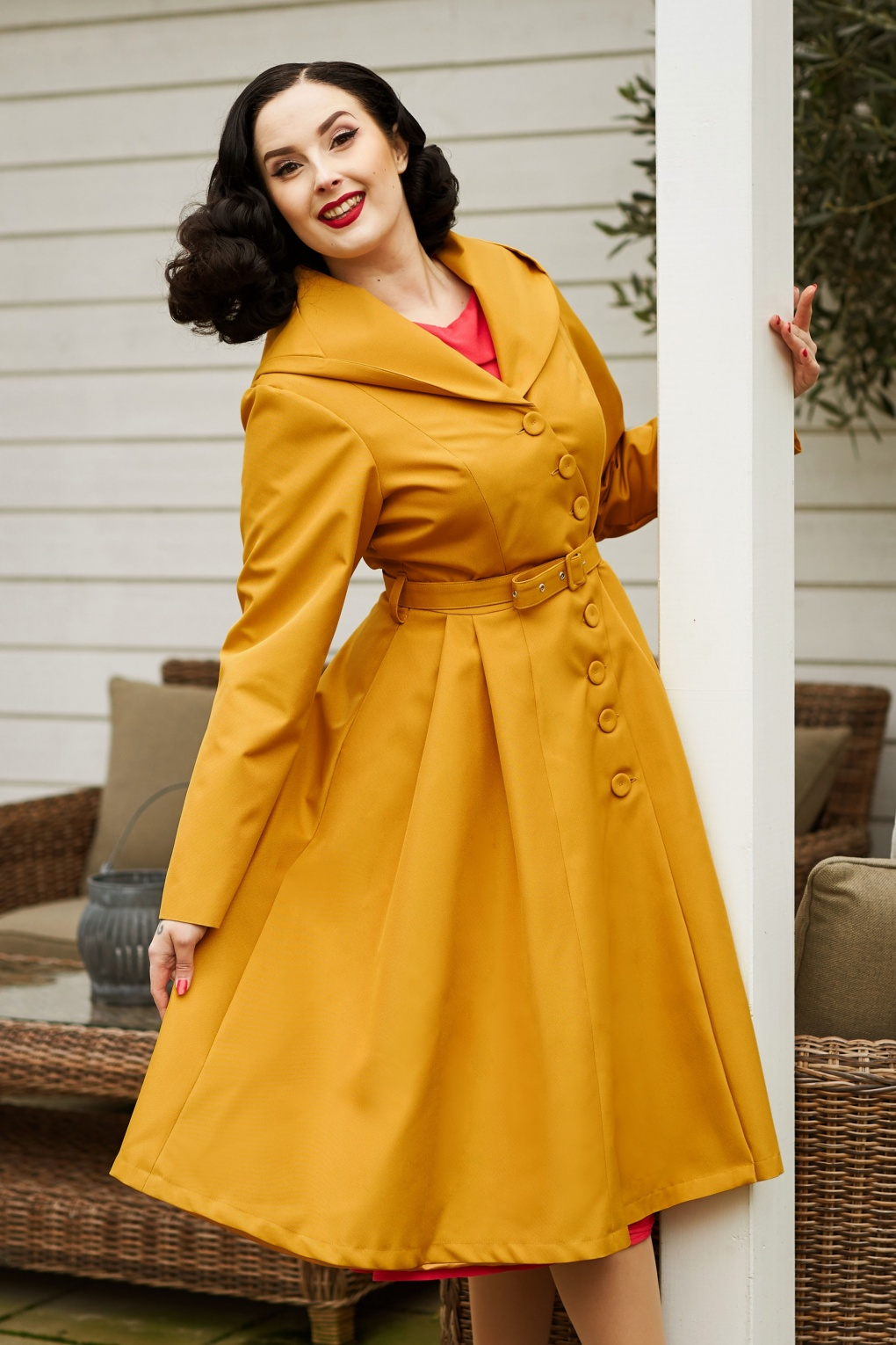 Vintage Coats & Jackets | Retro Coats and Jackets 50s Lorin Sun Swing Trench Coat in Mustard £148.48 AT vintagedancer.com