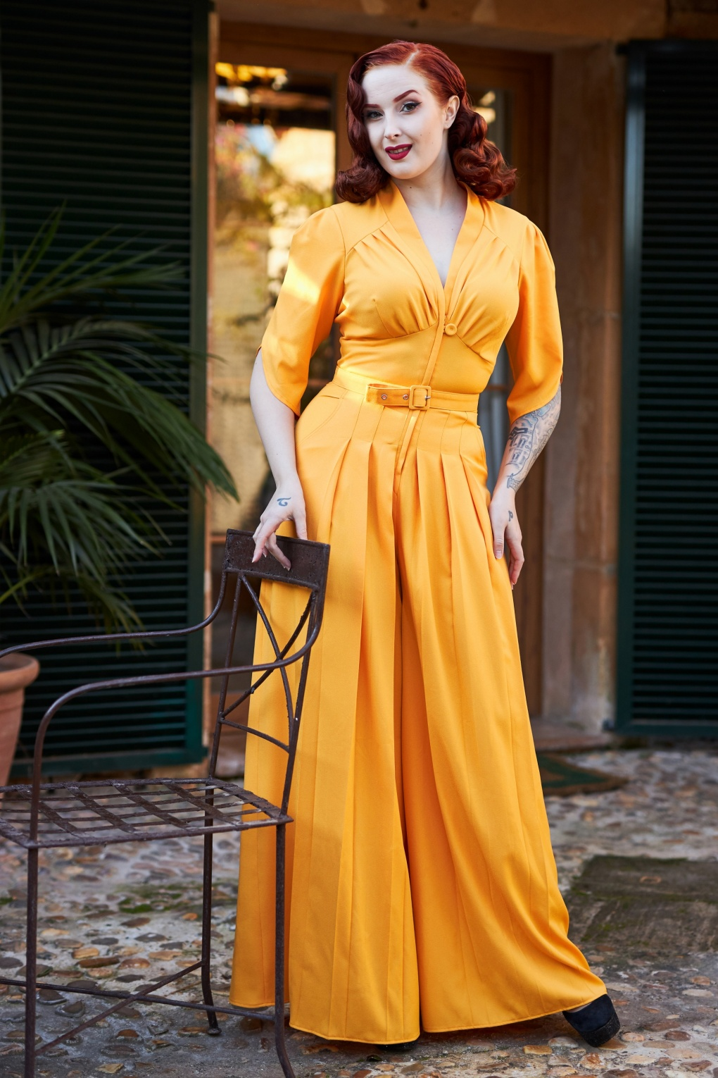Vintage High Waisted Trousers, Sailor Pants, Jeans 50s Giada Jumpsuit in Sun Yellow £118.03 AT vintagedancer.com