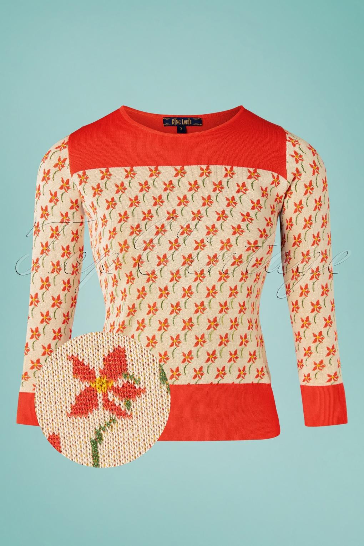 Vintage Sweaters, Retro Sweaters & Cardigan Ladies 60s Bella Fauna Knit Top in Cream £79.73 AT vintagedancer.com