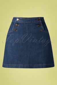 60s Sailor Denim Skirt in Blue