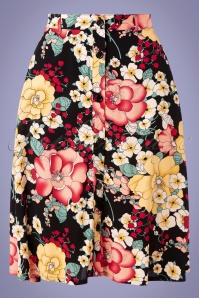 King Louie 31681 Swingskirt Serena Carioca Buttondown Black Floral 20191209 002W