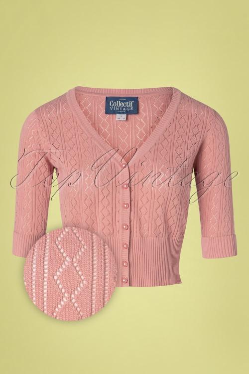 Collectif Clothing 27373 Linda Cardigan in Pink 20180813 001 Z