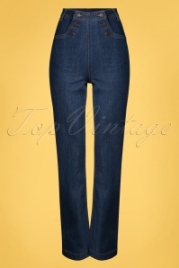 60s Sailor Denim Pants in Blue