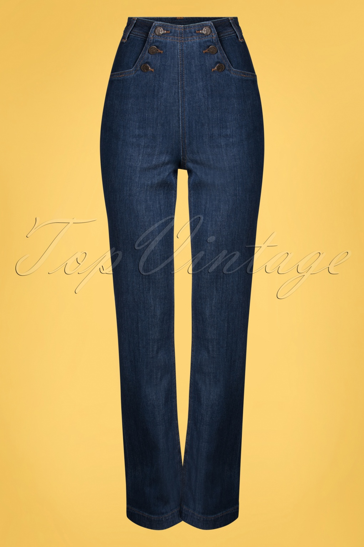 Vintage High Waisted Trousers, Sailor Pants, Jeans 60s Sailor Denim Pants in Blue £87.69 AT vintagedancer.com