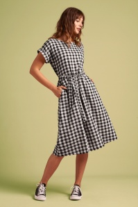 King Louie 31698 Swingdress Betty Checked Black White 20191209 020L